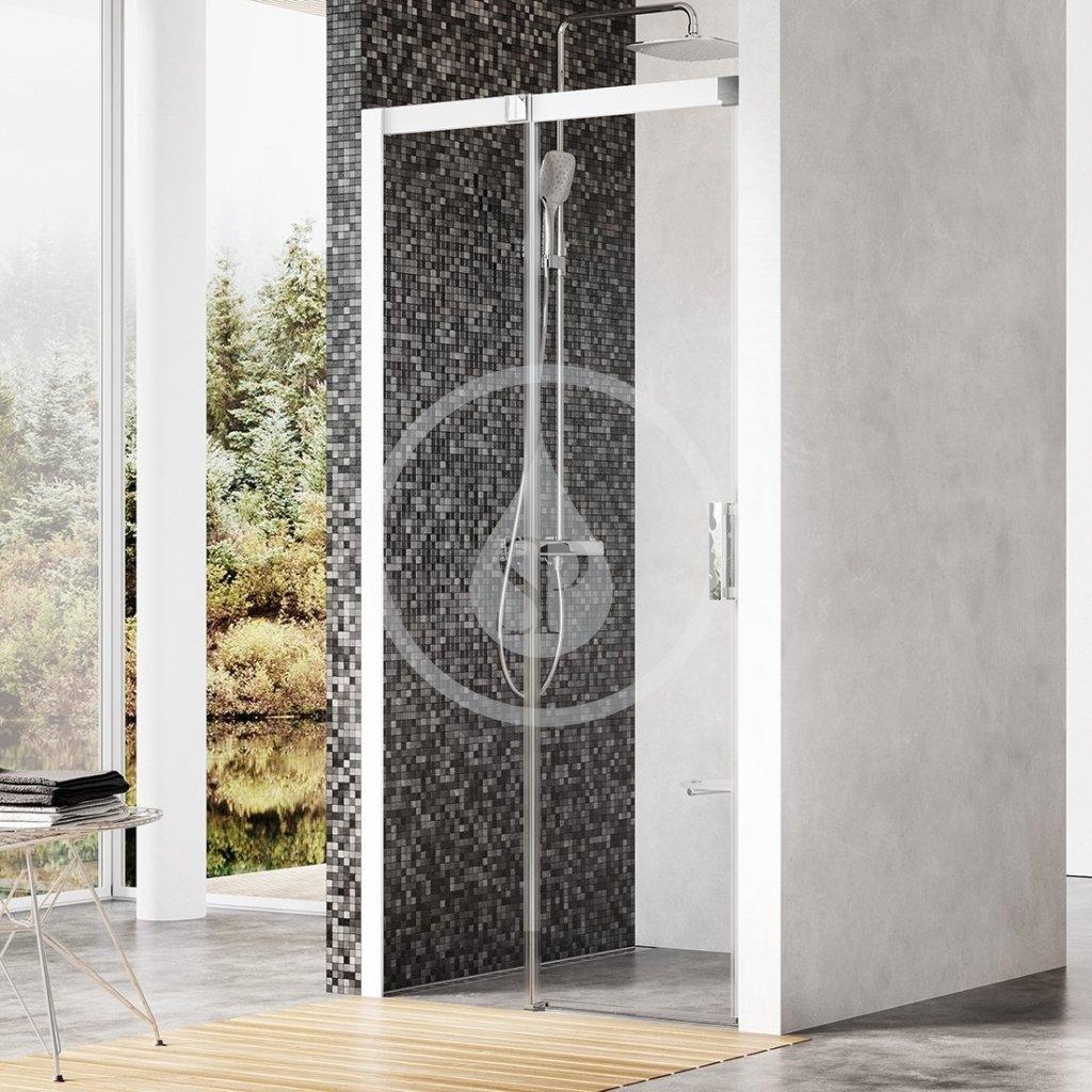 RAVAK - Matrix Sprchové dveře dvoudílné MSD2-100 L, 975-1015 mm, bílá/čiré sklo (0WLA0100Z1)