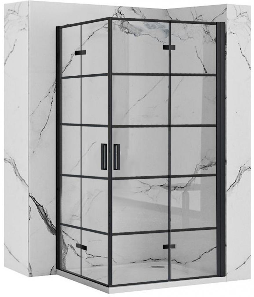 REA/S - Sprchový kout MOLIER dveře/dveře 90X90 BLACK (MOLDD090090B)