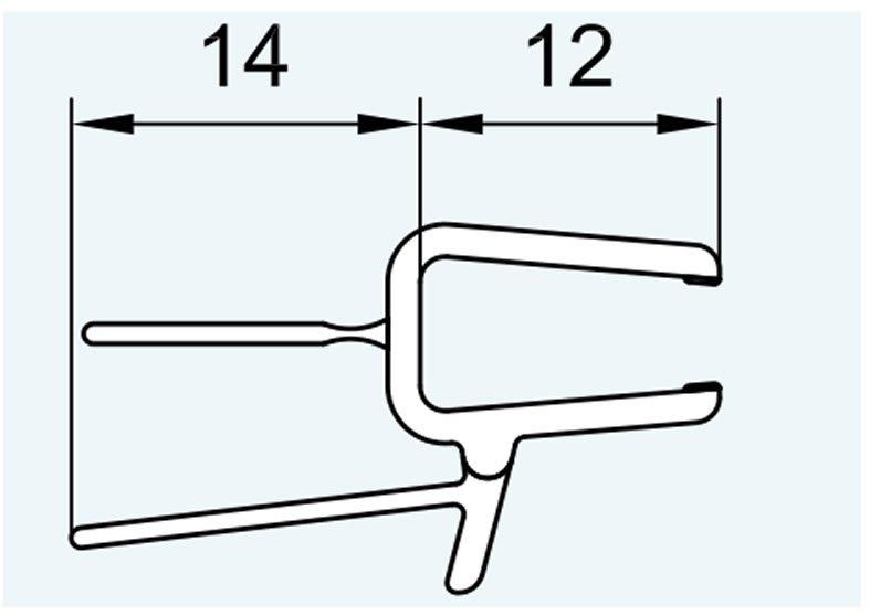 SanSwiss ND. těsnění s okapničkou(52203) 100cm,  na spodní hranu dveří s frézováním pro 180°    52203U2.KD.1000.F (52203U2.KD.1000.F)