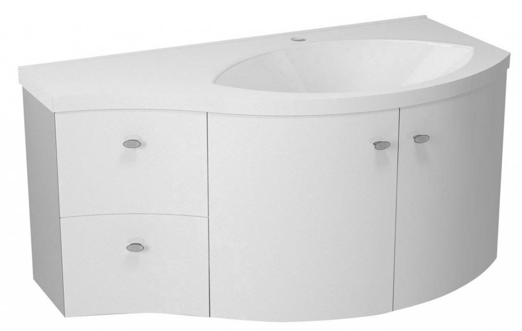 SAPHO - AILA umyvadlová skříňka 110x39cm, bílá/stříbrná, zásuvky vlevo vč.umyvadla ISOBEL 55601 (55621-SET)