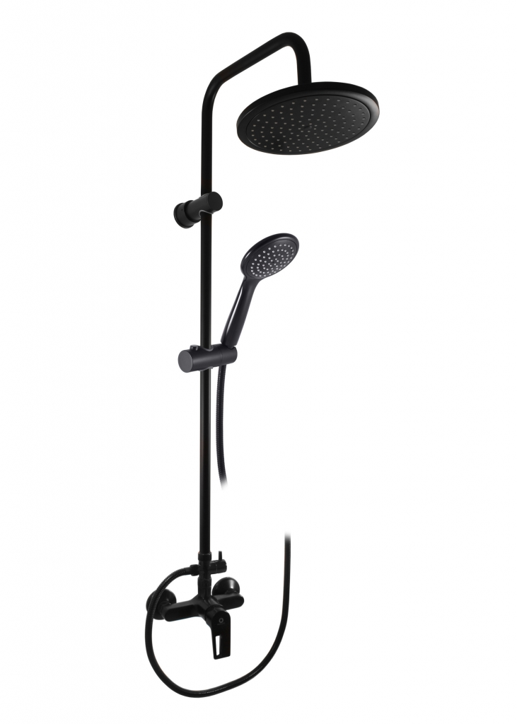 SLEZAK-RAV - Vodovodní baterie sprchová COLORADO s hlavovou a ruční sprchou černá matná, Barva: černá matná, Rozměr: 100 mm (CO282.0/3CMAT)