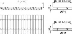 Alcaplast AP1- Přelivový rošt bez protiskluzu, výška 25mm, šířka, 195mm, délka 1000mm (AP1-195-1000)