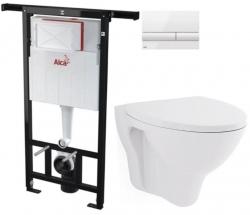 ALCAPLAST  Jádromodul - předstěnový instalační systém s bílým tlačítkem M1710 + WC CERSANIT ARES + SEDÁTKO (AM102/1120 M1710 AR1)