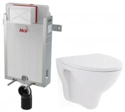 ALCAPLAST  Renovmodul - předstěnový instalační systém bez tlačítka + WC CERSANIT ARES + SEDÁTKO (AM115/1000 X AR1)