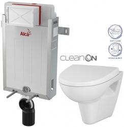 ALCAPLAST  Renovmodul - předstěnový instalační systém bez tlačítka + WC CERSANIT CLEANON PARVA + SEDÁTKO (AM115/1000 X PA1)