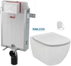 ALCAPLAST  Renovmodul - předstěnový instalační systém bez tlačítka + WC Ideal Standard Tesi se sedátkem RIMLESS (AM115/1000 X TE2)