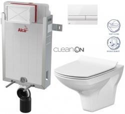 ALCAPLAST  Renovmodul - předstěnový instalační systém s bílým tlačítkem M1710 + WC CERSANIT CLEANON CARINA + SEDÁTKO (AM115/1000 M1710 CA3)