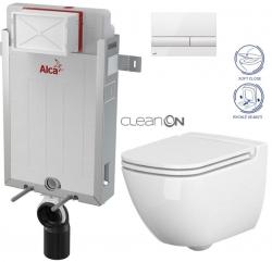 ALCAPLAST  Renovmodul - předstěnový instalační systém s bílým tlačítkem M1710 + WC CERSANIT CLEANON CASPIA + SEDÁTKO (AM115/1000 M1710 CP1)