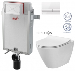 ALCAPLAST  Renovmodul - předstěnový instalační systém s bílým tlačítkem M1710 + WC CERSANIT CLEANON CITY (AM115/1000 M1710 CI1)