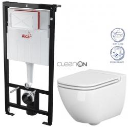 ALCAPLAST  Sádromodul - předstěnový instalační systém bez tlačítka + WC CERSANIT CLEANON CASPIA + SEDÁTKO (AM101/1120 X CP1)