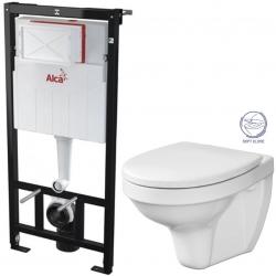 ALCAPLAST  Sádromodul - předstěnový instalační systém bez tlačítka + WC CERSANIT DELFI + SOFT SEDÁTKO (AM101/1120 X DE2)