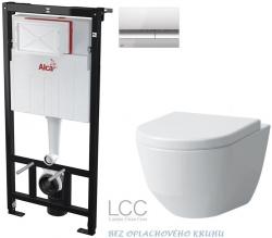 ALCAPLAST  Sádromodul - předstěnový instalační systém s chromovým tlačítkem M1721 + WC LAUFEN PRO LCC RIMLESS + SEDÁTKO (AM101/1120 M1721 LP2)