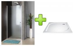 AQUALINE - PILOT otočné sprchové dveře 800mm+vanička (PT080-SET1)