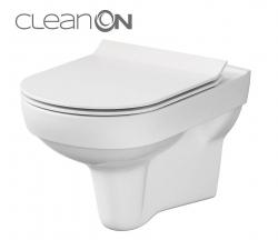 CERSANIT - SET 794 ZÁVĚSNÁ WC MÍSA CITY NEW CLEANON + WC SEDÁTKO SLIM DUR SC ONE BUTTON BOX (K701-143)