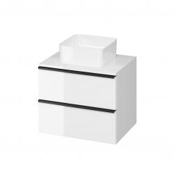 CERSANIT - Skříňka VIRGO 60 bílá pod umyvadlo na desku s černými úchyty (S522-019)