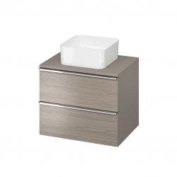 CERSANIT - Skříňka VIRGO 60 šedý dub pod umyvadlo na desku s chromovými úchyty (S522-022)