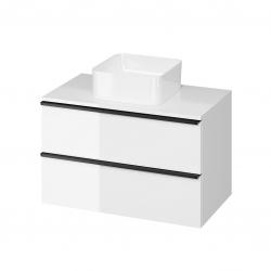 CERSANIT - Skříňka VIRGO 80 bílá pod umyvadlo na desku s černými úchyty (S522-027)