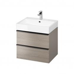 CERSANIT - Umyvadlová skříňka VIRGO 60 šedý dub s černými úchyty (S522-021)