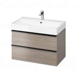 CERSANIT - Umyvadlová skříňka VIRGO 80 šedý dub s černými úchyty (S522-029)