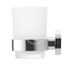 DURAVIT - D-Code Pohárek na kartáčky a pastu s držákem, levý, mléčné sklo/chrom (0099191000)