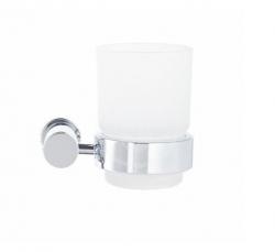 DURAVIT - D-Code Pohárek na kartáčky a pastu s držákem, pravý, mléčné sklo/chrom (0099201000)