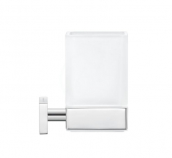 DURAVIT - Karree Sklenka na kartáčky a pastu s držákem, chrom/mléčné sklo (0099511000)