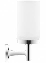 DURAVIT - Starck T Sklenka na kartáčky a pastu s držákem, chrom/mléčné sklo (0099311000)