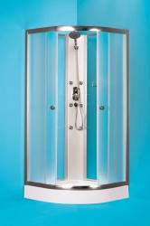 HOPA - Čtvrtkruhový sprchový box GRANADA - Barva rámu zástěny - Hliník chrom, Rozměr A - 90 cm, Rozměr B - 90 cm, Vanička HL - Bez vaničky (OLBGRA90CMBV)