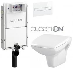 LAUFEN Podomít. systém LIS TW1 SET s bílým tlačítkem + WC CERSANIT CLEANON CARINA  + SEDÁTKO (H8946630000001BI CA1)