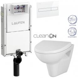 LAUFEN Podomít. systém LIS TW1 SET s bílým tlačítkem + WC CERSANIT CLEANON PARVA + SEDÁTKO (H8946630000001BI PA1)