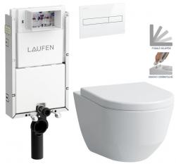 LAUFEN Podomít. systém LIS TW1 SET s bílým tlačítkem + WC LAUFEN PRO + SEDÁTKO (H8946630000001BI LP3)