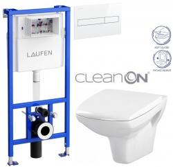 LAUFEN Rámový podomítkový modul CW1 SET s bílým tlačítkem + WC CERSANIT CLEANON CARINA + SEDÁTKO (H8946600000001BI CA2)
