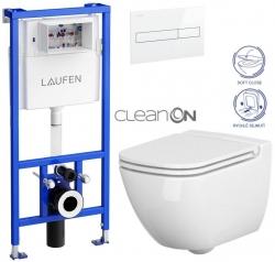 LAUFEN Rámový podomítkový modul CW1 SET s bílým tlačítkem + WC CERSANIT CLEANON CASPIA + SEDÁTKO (H8946600000001BI CP1)
