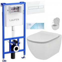 LAUFEN Rámový podomítkový modul CW1 SET s bílým tlačítkem + WC Ideal Standard Tesi se sedátkem SoftClose, AquaBlade  (H8946600000001BI TE1)
