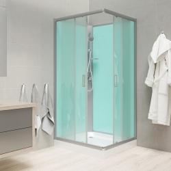 MEREO - Sprchový box, čtvercový, 90cm, satin ALU, sklo Point, zadní stěny zelené, SMC vanička, bez stříšky (CK34122B)