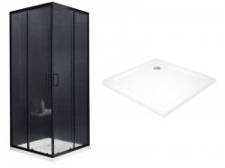 MEXEN/S - Rio Sprchový kout čtvercový 80x80 cm, transparent, chrom + vanička se sifonem (860-080-080-70-00-4010)