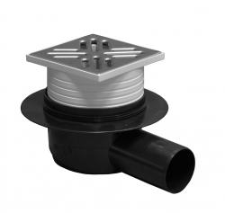 Plast Brno - Podl.vpusť 50 boční nerez 10x10 se suchou klapkou (Plast Brno) SI50C01 (SI50C01)