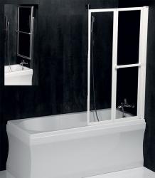 POLYSAN - LANKA2 pneumatická vanová zástěna 830 mm, bílý rám, čiré sklo (37517)