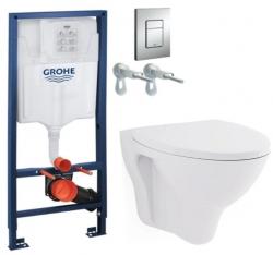 Rapid SL pro závěsné WC 38528SET s chromovou deskou + WC CERSANIT ARES + SEDÁTKO (38772001 AR1)