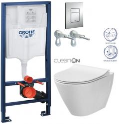 Rapid SL pro závěsné WC 38528SET s chromovou deskou + WC CERSANIT CLEANON CITY (38772001 CI1)