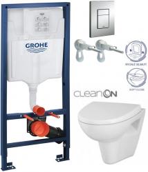 Rapid SL pro závěsné WC 38528SET s chromovou deskou + WC CERSANIT CLEANON PARVA + SEDÁTKO (38772001 PA1)