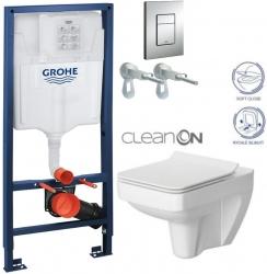 Rapid SL pro závěsné WC 38528SET s chromovou deskou + WC CERSANIT CLEANON SPLENDOUR + SEDÁTKO (38772001 SP1)