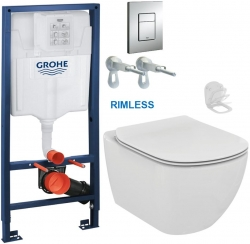 Rapid SL pro závěsné WC 38528SET s chromovou deskou + WC Ideal Standard Tesi se sedátkem RIMLESS (38772001 TE2)