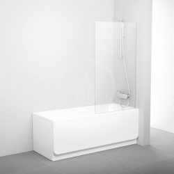 RAVAK - Pivot Vanová zástěna jednodílná PVS1, 800x1400 mm, bílá/čiré sklo (79840100Z1)