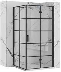 REA/S - Sprchový kout MOLIER dveře/stěna 90X90 BLACK (MOLDS090090B)