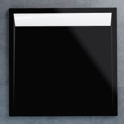 SanSwiss vanička ILA čtverec černý granit 90x90x3 cm kryt bílý WIQ09004154 (WIQ09004154)