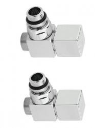 SAPHO - CUBE připojovací sada ventilů ruční rohová, broušený nerez (CP4510)