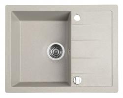 SAPHO - Dřez granitový vestavný s odkapávací plochou, 65x50 cm, béžová (GR6502)