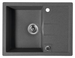 SAPHO - Dřez granitový vestavný s odkapávací plochou, 65x50 cm, černá (GR6504)