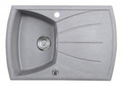 SAPHO - Dřez granitový vestavný s odkapávací plochou, 77x51 cm, šedá (GR1103)